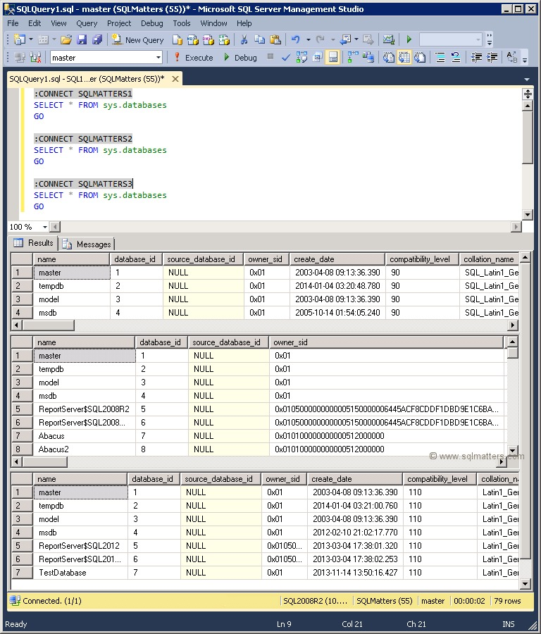 Connecting to multiple servers in a Query Window using SQLCMD